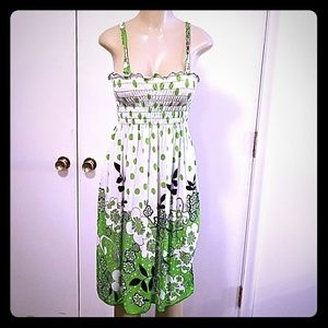 GREEN AND WHITE SUNDRESS